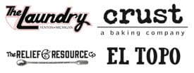 Laundry, CRUST, El Topo and The Relief & Resource Co. Logos